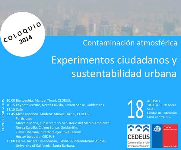 """Coloquio """"Contaminación atmosférica: experimentos ciudadanos y sustentabilidad urbana"""""""