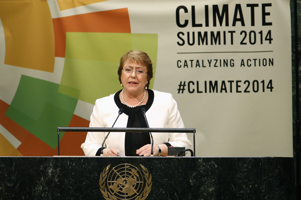 Bachelet compromete medidas para Cambio Climático