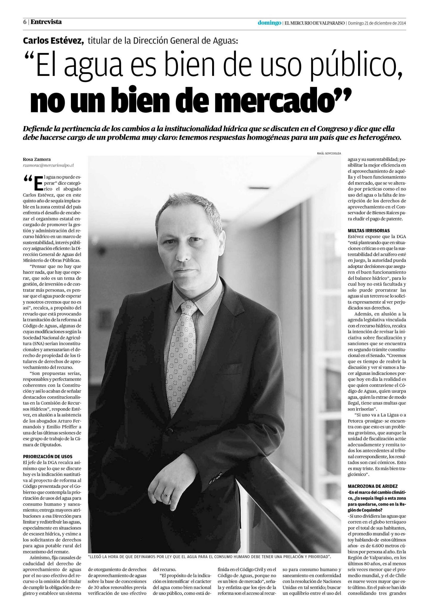 """Carlos Estévez: """"El Agua es bien de uso público, no un bien de mercado"""""""