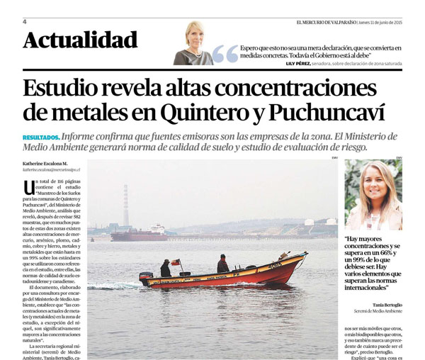 Estudio revela altas concentraciones de metales pesados en Quintero y Puchuncaví