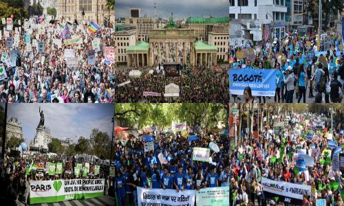 Manifestaciones en todo el mundo marcaron la víspera de la Cumbre del Cambio Climático