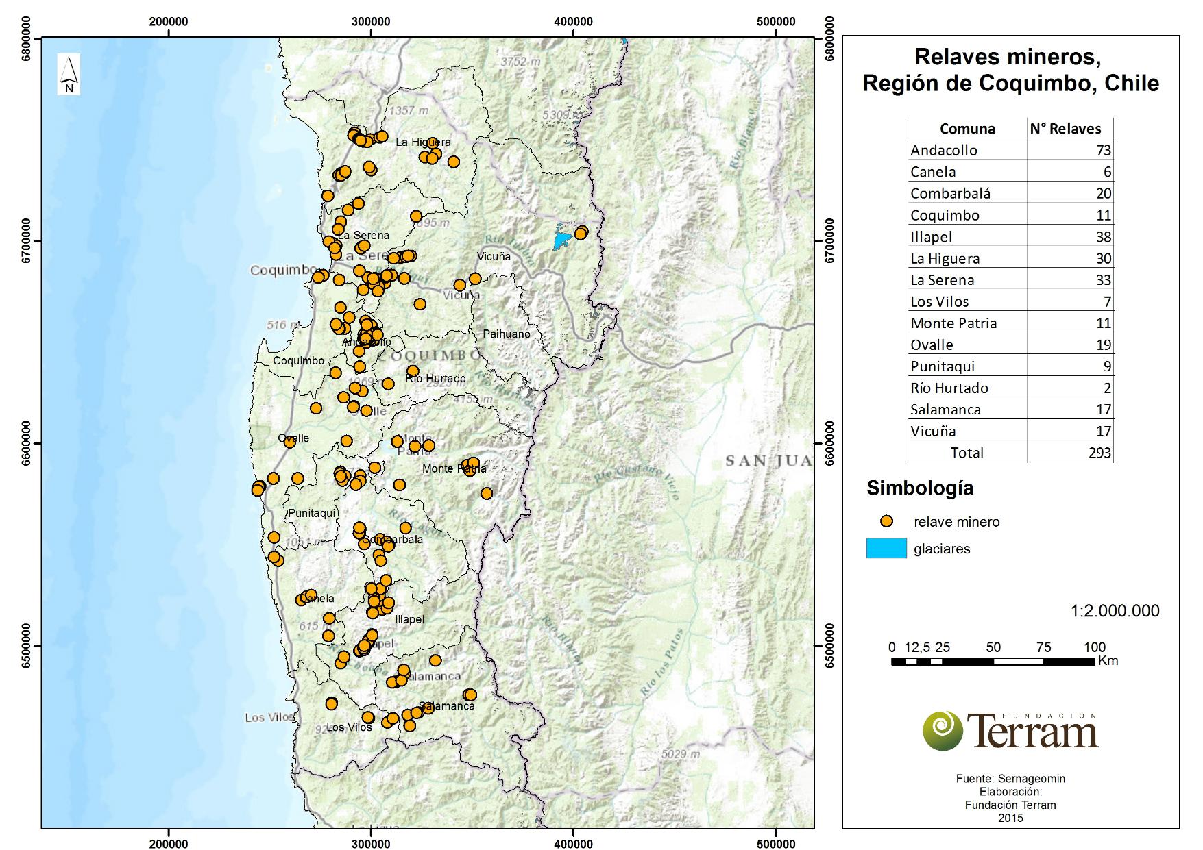 Catastro de los relaves mineros del norte de Chile: Coquimbo